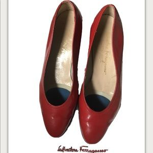 Vintage Red Ferragamo Wedges, size 6.5